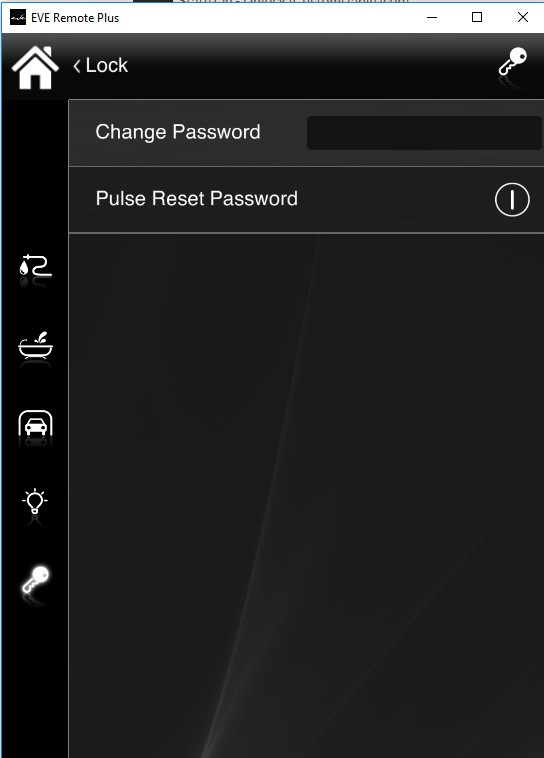 How to reset the password from inside the Home atomation app EVE Remote plus classic style