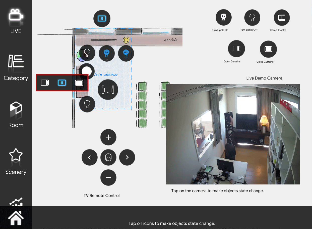 Shutter icon in stop mode inside the Home automation App EVE Remote Plus map style