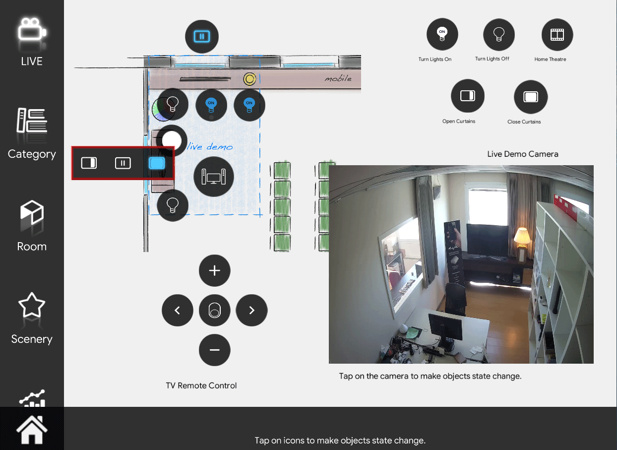 Shutter icon in open mode inside the Home automation App EVE Remote Plus map style