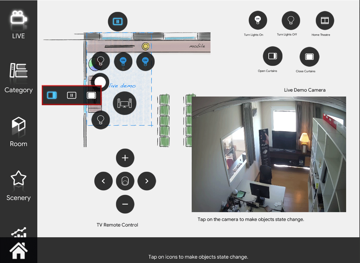 Shutter icon in close mode inside the Home automation App EVE Remote Plus map style