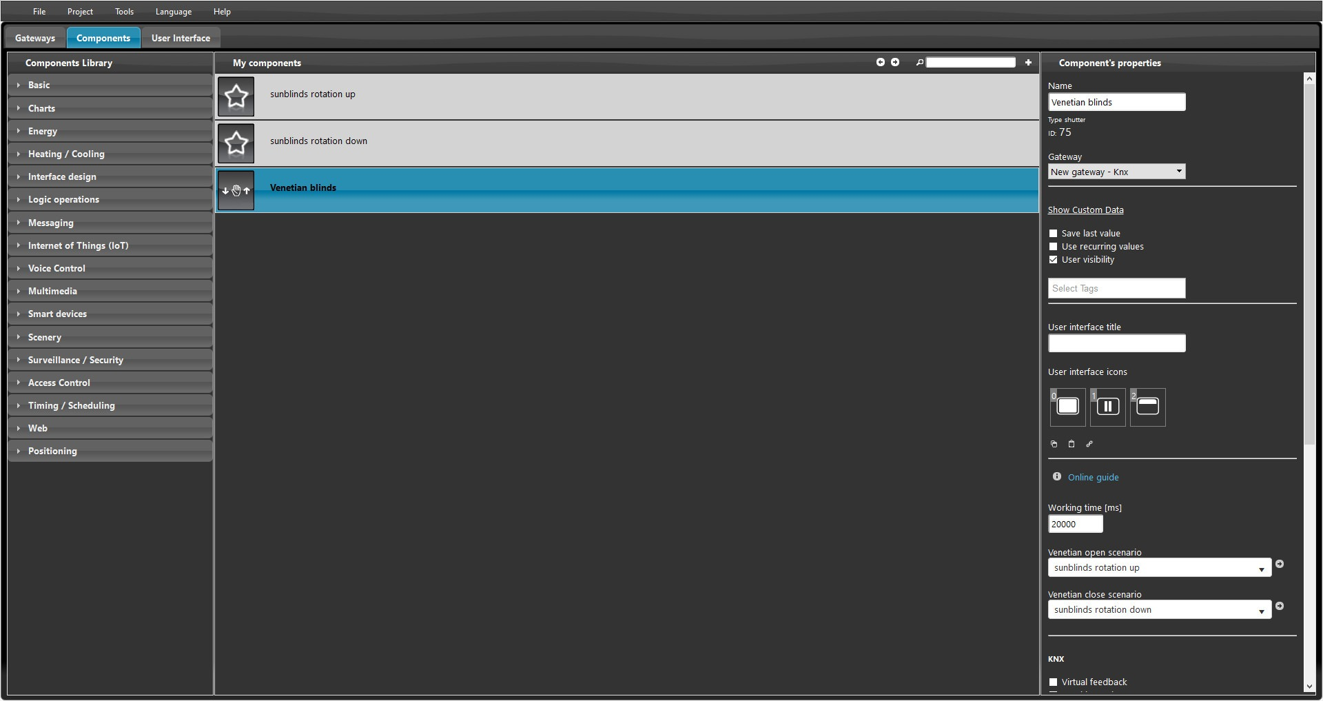 How to set up the sunblinds in the shutter component inside the Home automation software EVE Manager