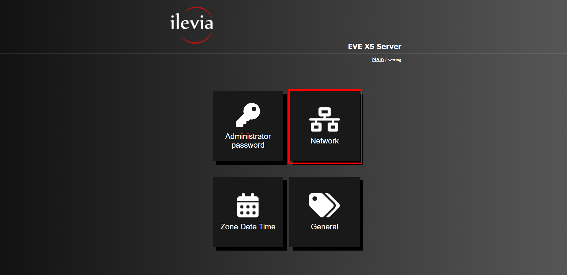 How to reach the network configuration settings of the device inside the web interface of the EVE server