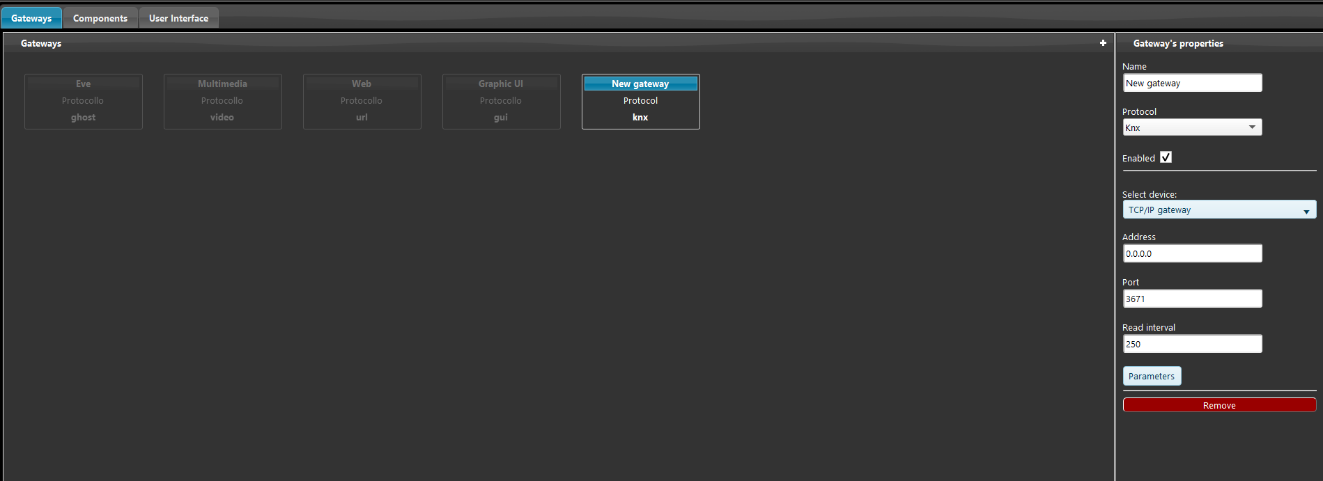 How the gateway's properties are shown inside the Home automation configuration software EVE Manager