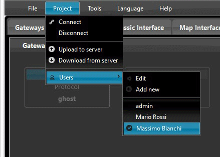 User list where you can find all the users you have created Inside the Home automation software EVE Manager
