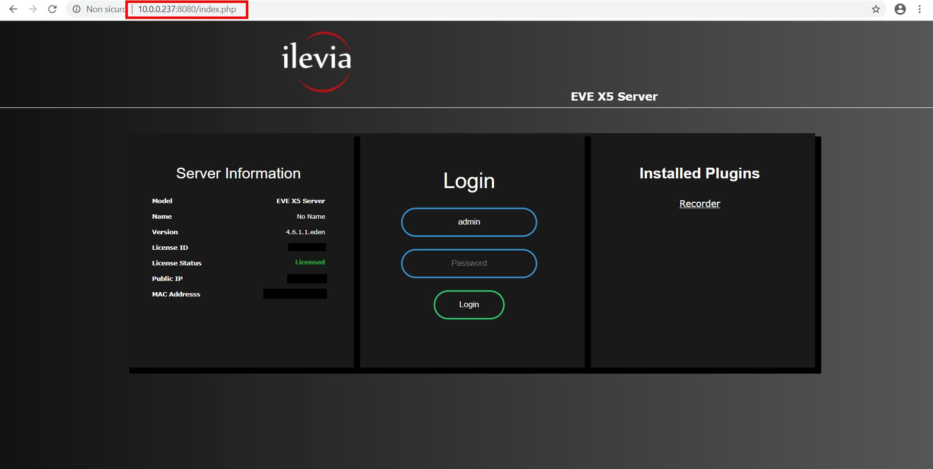 Come entrare all'interno della pagina di configurazione del server Macchina virtuale EVE X5