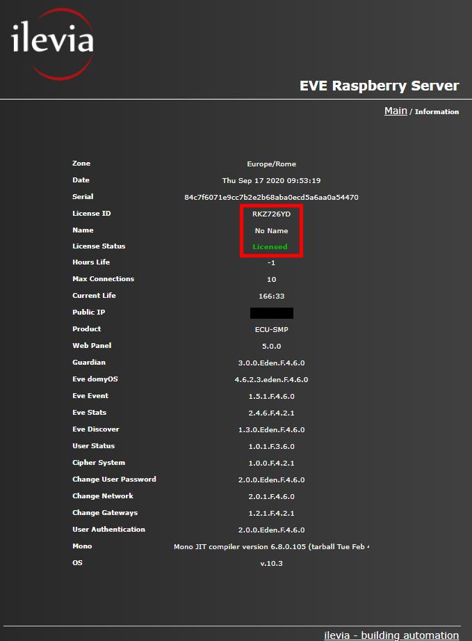 Menù Info all'interno del server Raspberry per il controllo della domotica e controllo dello stato dello stato della licenza