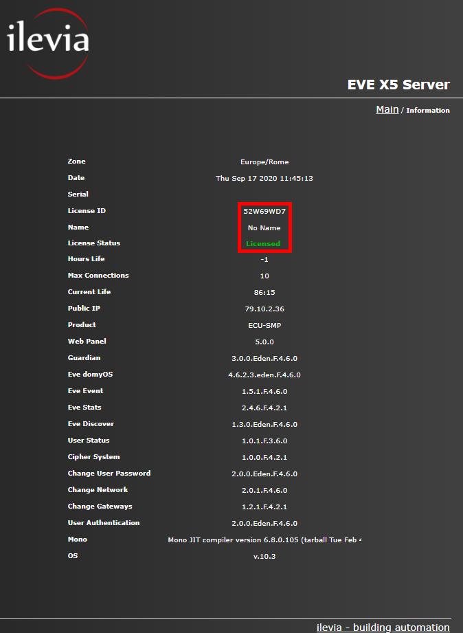 Menù Info all'interno del server Macchina Virtuale per il controllo della domotica e controllo dello stato dello stato della licenza