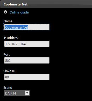 Proprietà componente CoolMasterNet all'interno del software per il controllo della domotica EVE Manager Pro