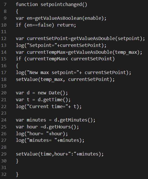 Cosa farà la funzione Setpoint changed una volta attivata all'esecuzione dello script
