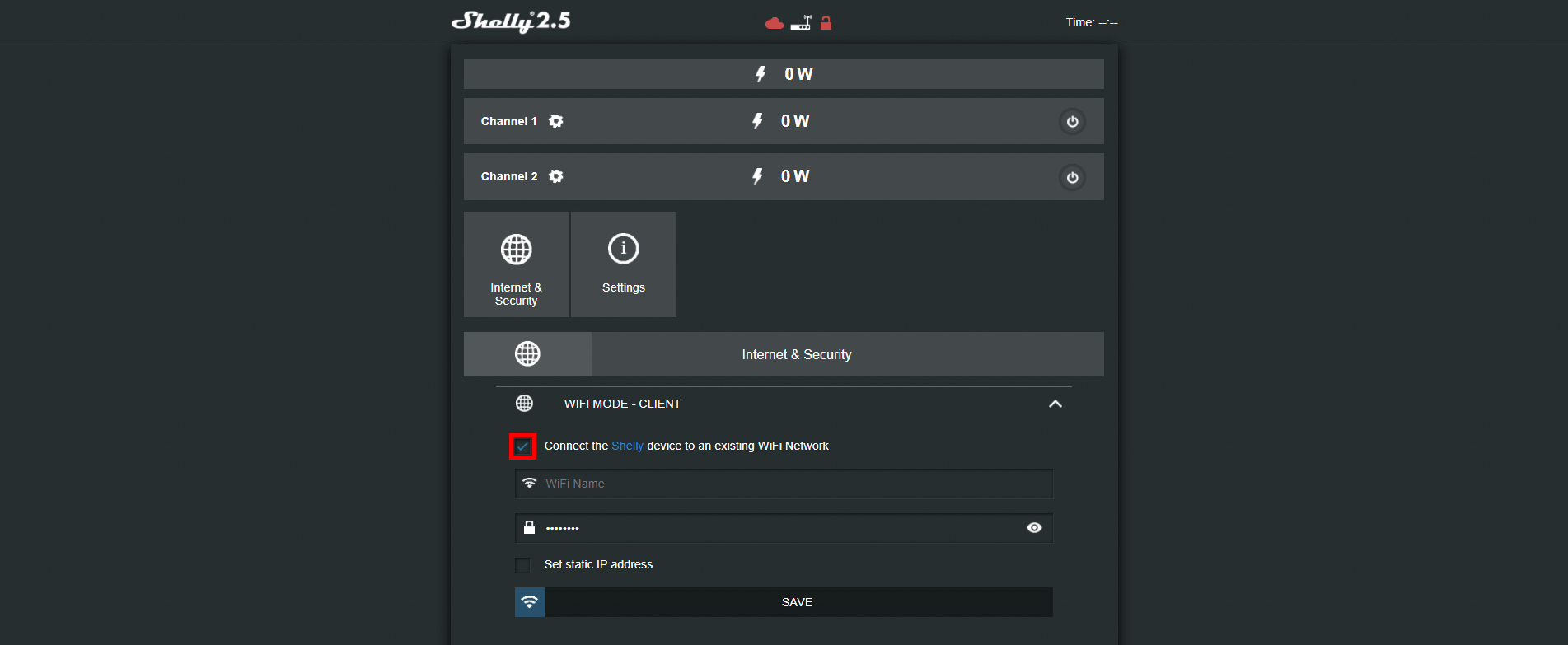 How to enable the wifi mode client inside the shelly's 2.5 web interface
