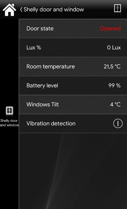 Here displayed how the project configuration is inside the Home automation app EVE Remote Plus when the window is open and tilted