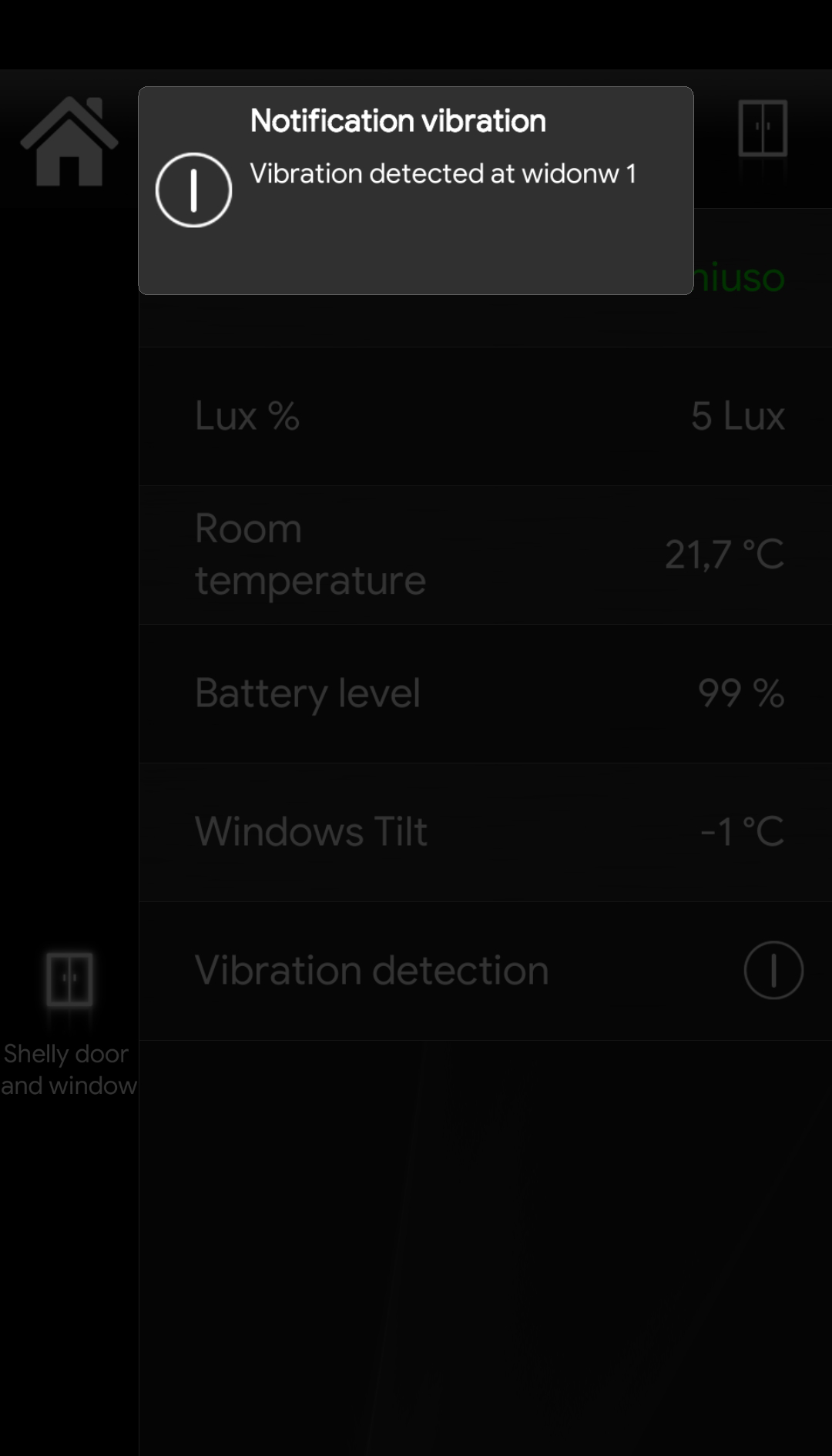 Here displayed how the project configuration is inside the Home automation app EVE Remote Plus when the shelly device has detected a vibration