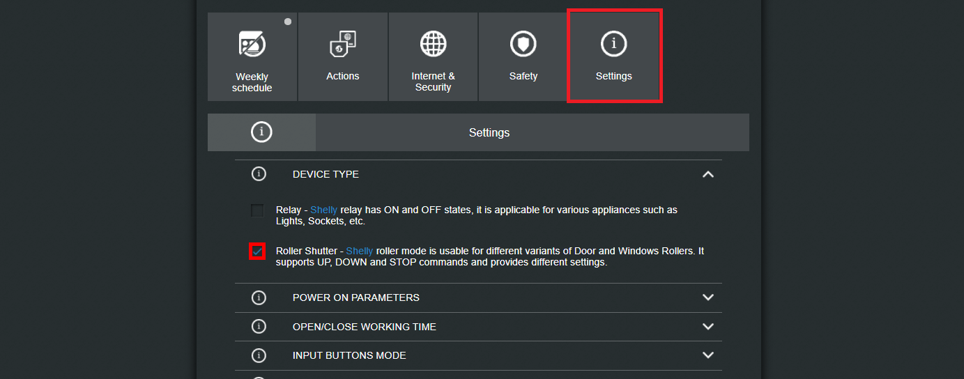 How to enable the roller shutter mode from inside the shelly's 2.5 web interface