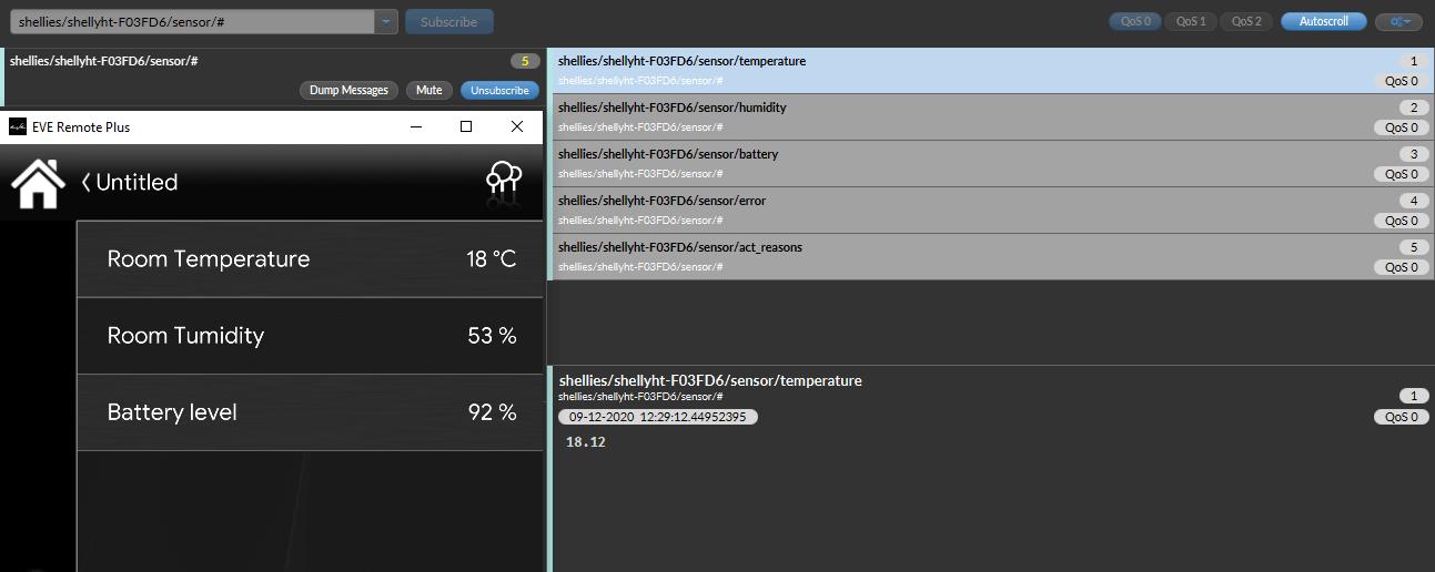 Test corretto funzionamento dei topic impostati all'interno dell'applicazione per il controllo della domotica EVE Remote Plus
