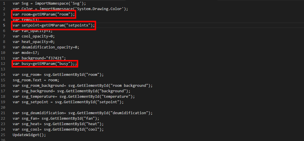 Queste variabili prenderanno il valore corrispondente al parametro json inserito all'interno del componente custom widget nel progetto del software per la configurazione della domotica EVE Manager.