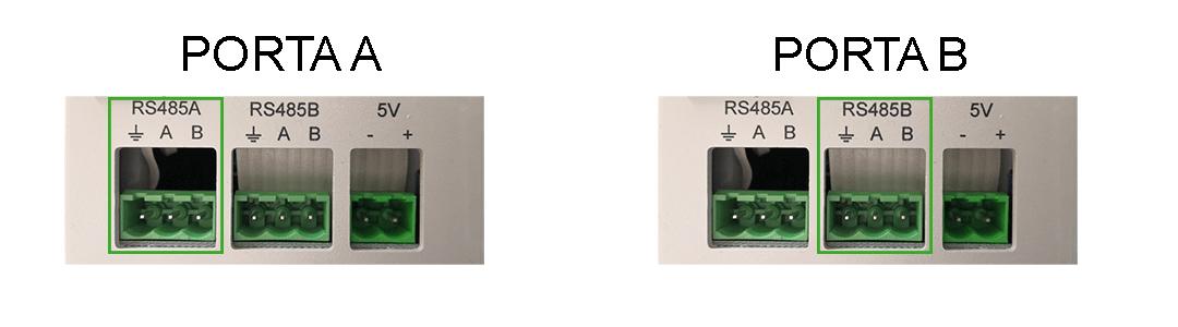 Porte dedicate al cablaggio Modbus RS485 nel server per il controllo della domotica EVE Manager Pro