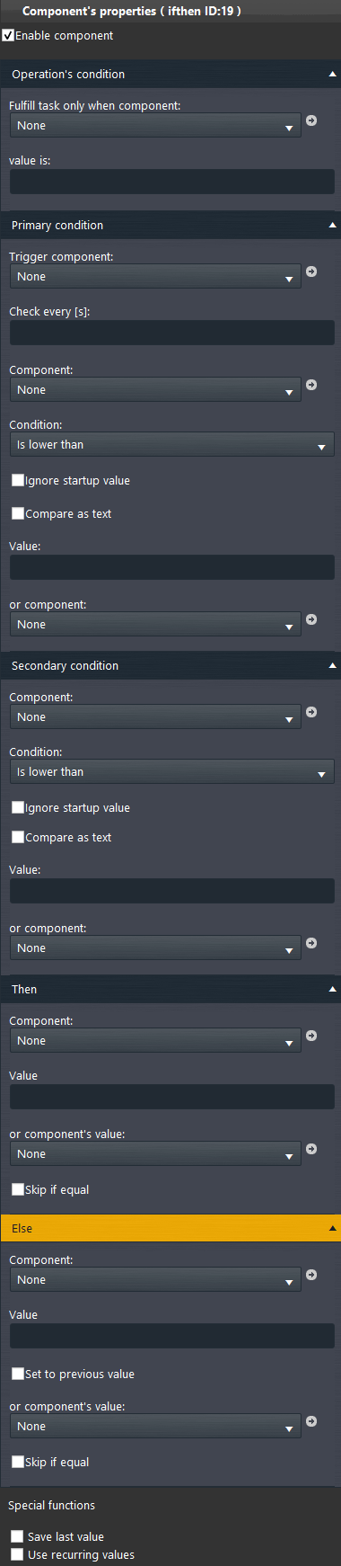 IF Then component properties inside the Home automation software EVE Manager