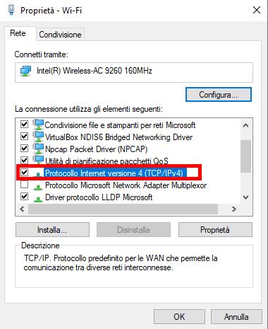 Impostazioni IPv4 per la connessione diretta con il server per il controllo della domotica EVE X1
