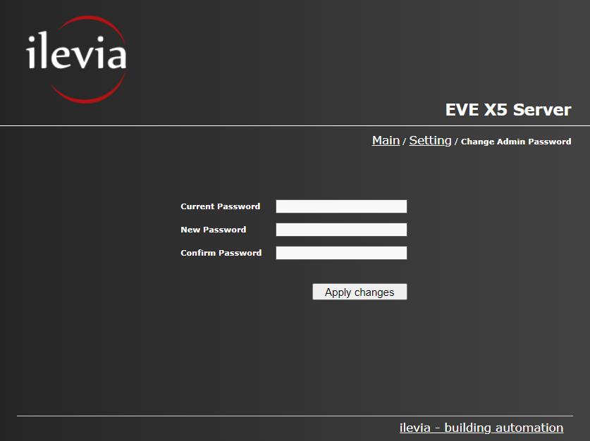 Password amministratore menu all'interno dell'interfaccia web del server domotico EVE X5