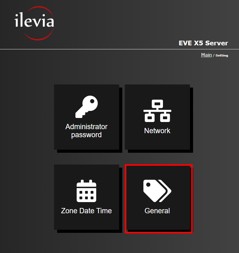 Menu General inside the web interface of the Home automation server EVE X5