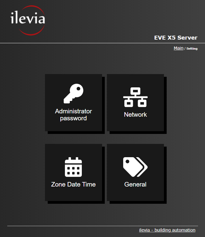 All the available features inside the settings menu of the Home automation server EVE X5