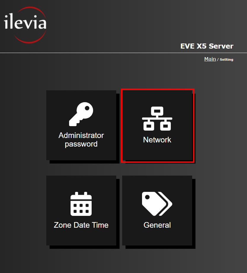 Menu network inside the web interface of the Home automation server EVE X5