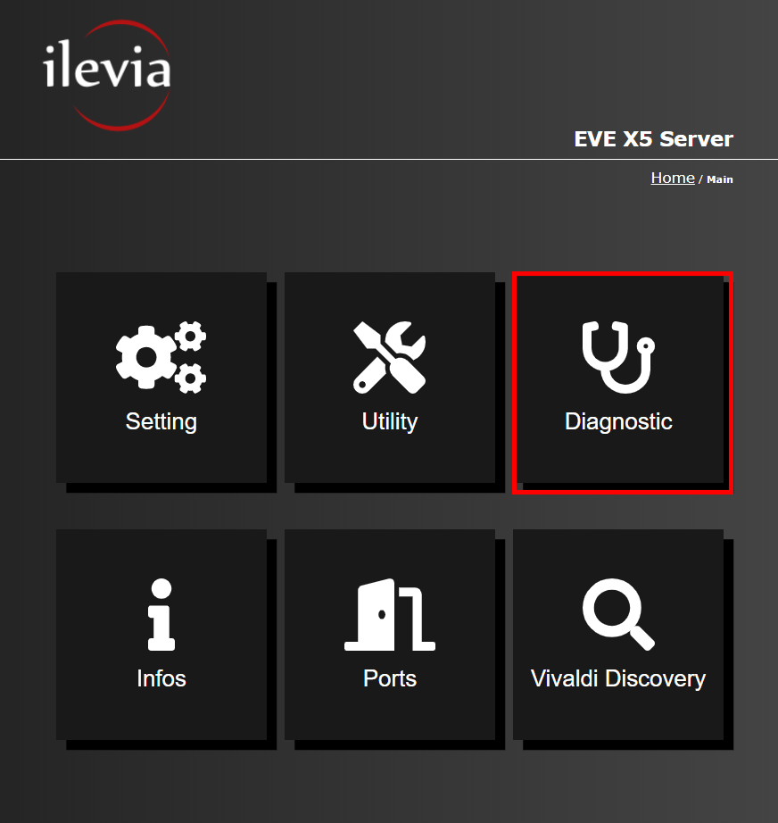 Menu diagniostic inside the web interface of the Home automation server EVE X5