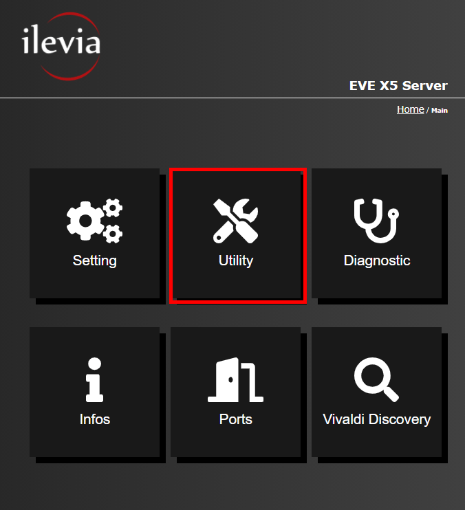Utility menu inside the web interface of the Home automation server EVE X5