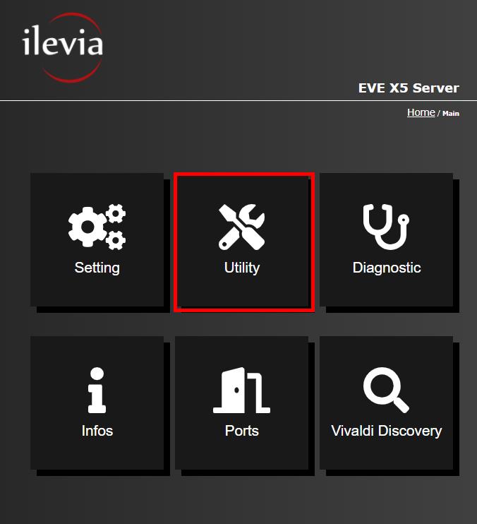 Menu Utility all'interno dell'interfaccia web del server per la supervisione della domotica EVE X5