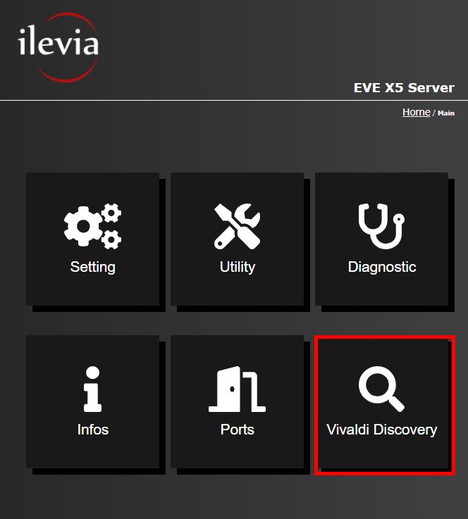 Vivaldi discovery menu inside the Home automation server EVE X5's web interface