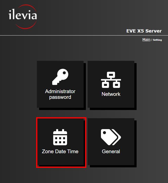 Menu Zone date time all'interno dell'interfaccia web dell'interfaccia web del server per la supervisione della domotica EVE X5