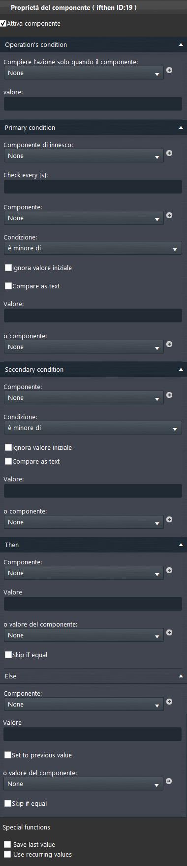 Proprietà del componente If Then all'interno del software di configurazione EVE Manager