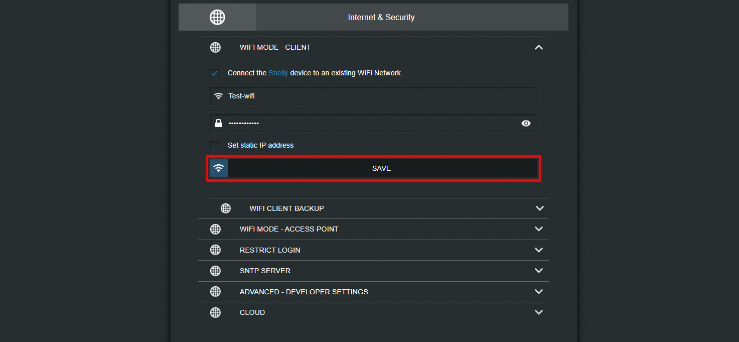 Inserting the wifi credentials to allow the shelly i3 device to connect to our local network