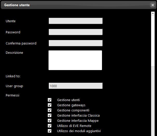 Come viene visualizzata la finestra per la modifica e applicazione dei permessi degli utenti all'interno del software per la configurazione della domotica EVE Manager Pro