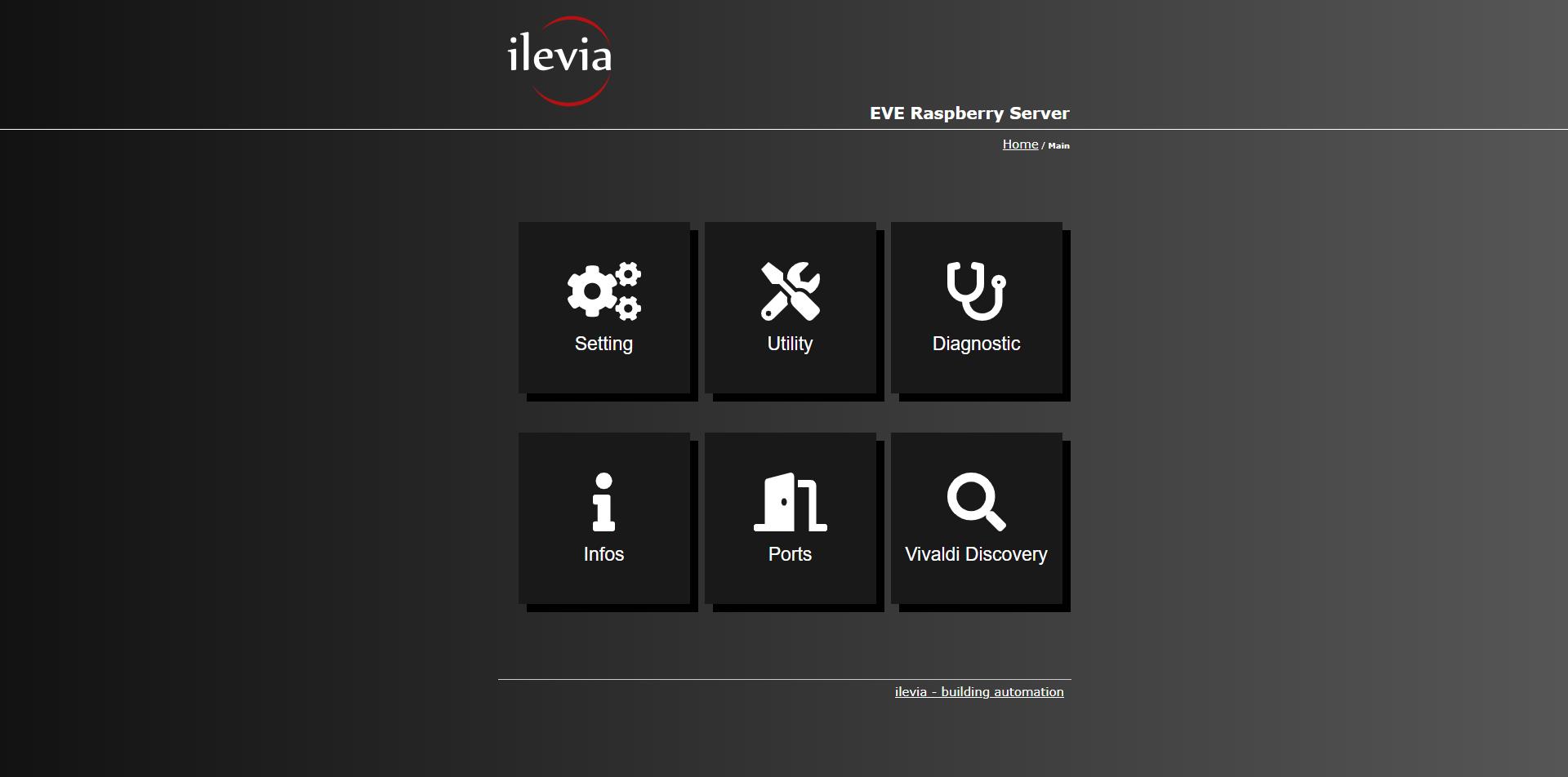 How the EVE X5's Home automation server Main menu