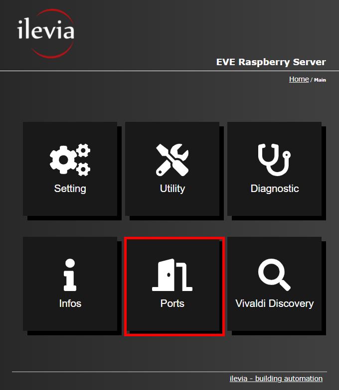 Vivaldi discovery menu inside the Home automation server Raspberry Pi's web interface