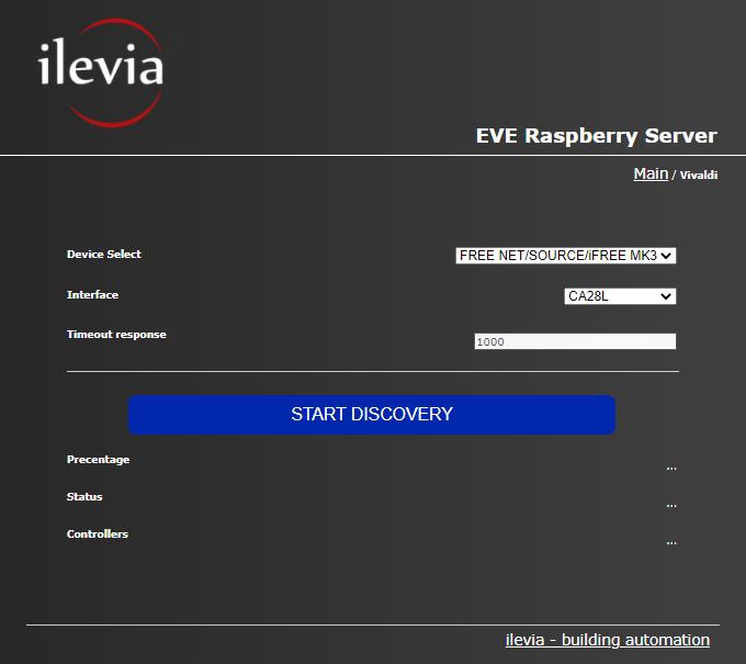Vivaldi discovery configuration menu inside the Home automation server Raspberry Pi
