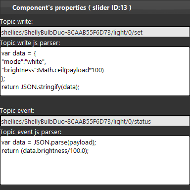 Slider component topics configuration inside the Home automation configuration software EVE Manager pro