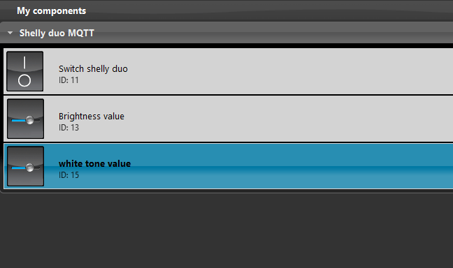 Slider component inside the Home automation configuration software EVE Manager