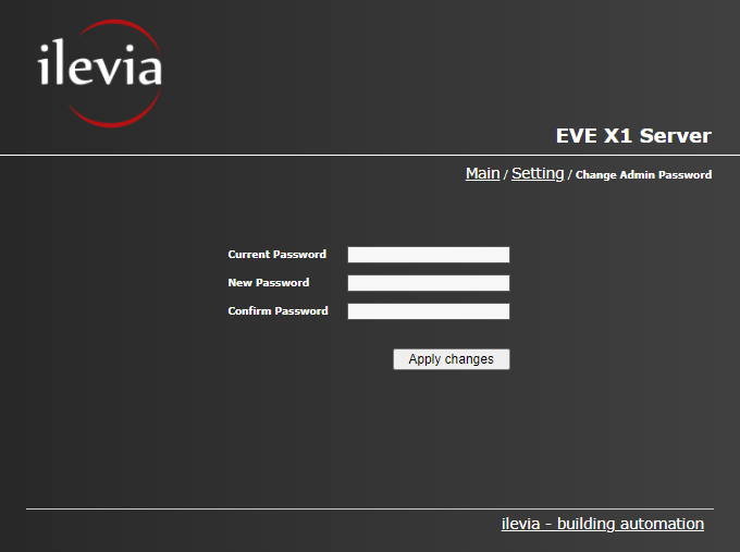 How to change the administrator password inside the web interface of the Home automation server EVE X1
