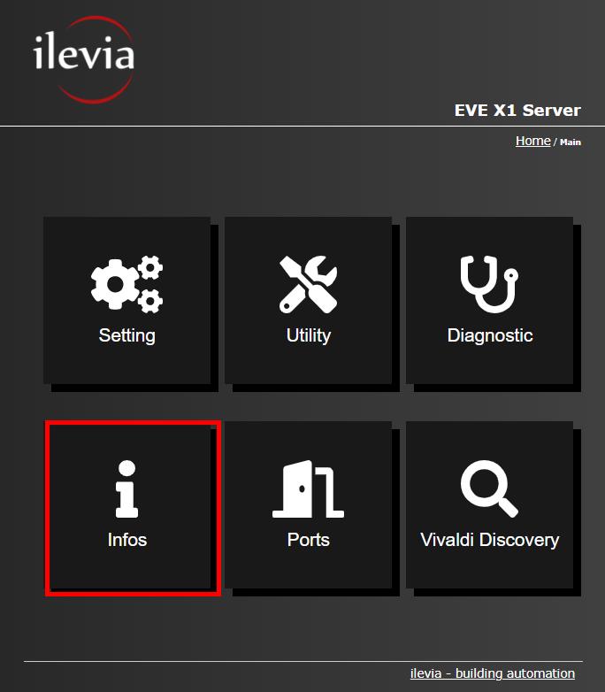 Menu Info all'interno del dell'interfaccia web del server per la supervisione della domotica EVE X1