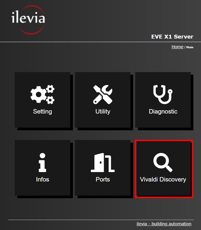 Menu Vivaldi discovery all'interno dell'interfaccia web del server per la supervisione della domotica EVE X1