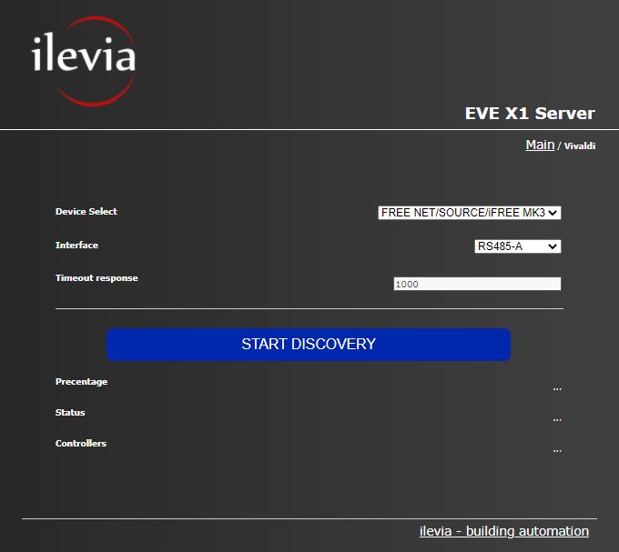 Configurazione ricerca dispositivi Vivaldi all'interno dell'interfaccia del server per la supervisione della domotica EVE X1