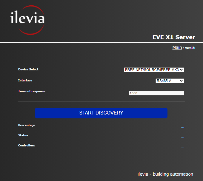Vivaldi discovery configuration menu inside the Home automation server EVE X1
