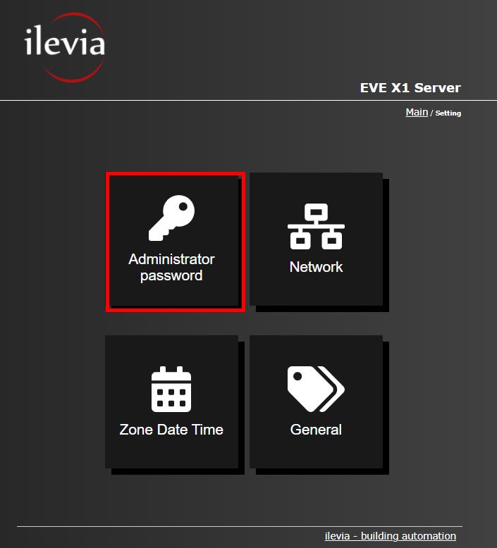 Password amministratore menu all'interno dell'interfaccia web del server per il controllo della domotica server EVE X1