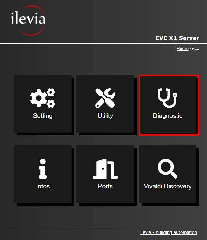 Menu diagniostic inside the web interface of the Home automation server EVE X1