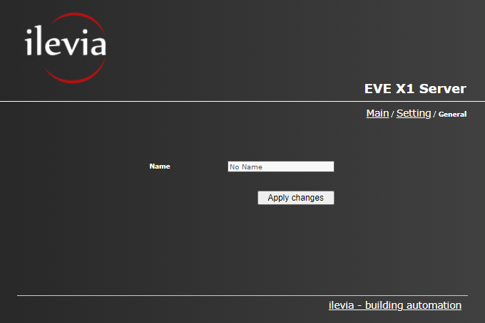 How to change the name of the server form inside the web user interface of the Home automation server EVE X1