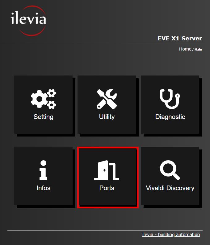 Menu Port all'interno dell'interfaccia web del server per la supervisione della domotica EVE X1