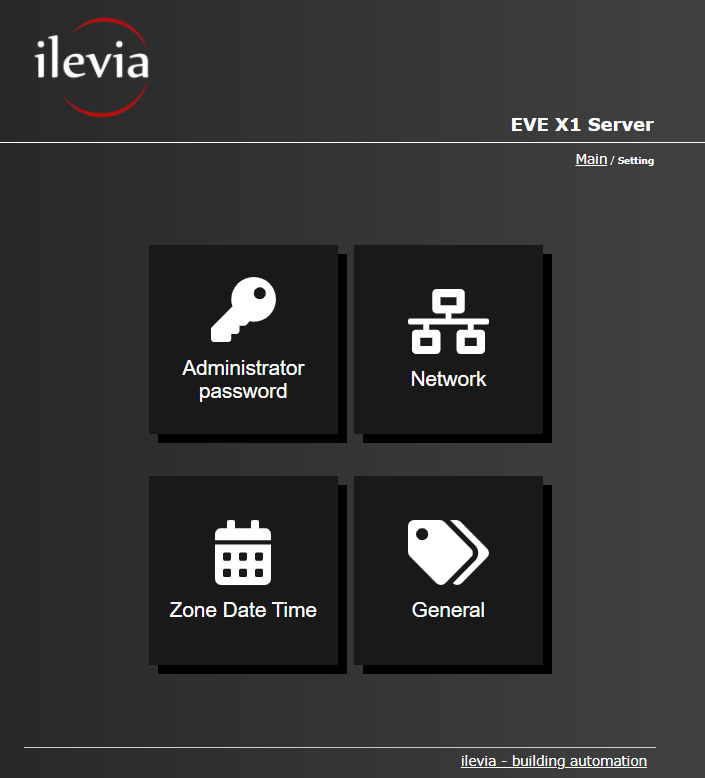 All the available features inside the settings menu of the Home automation server EVE X1