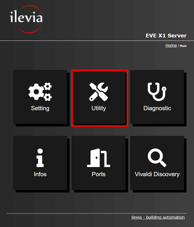Utility menu inside the web interface of the Home automation EVE X1 server